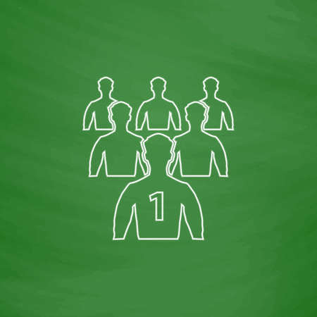 Leadership Outline vector icon. Imitation draw with white chalk on green chalkboard. Flat Pictogram and School board background. Illustration symbol