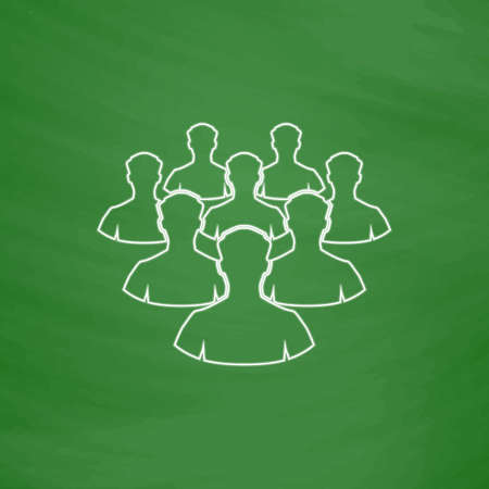 leader Outline vector icon. Imitation draw with white chalk on green chalkboard. Flat Pictogram and School board background. Illustration symbol Illustration