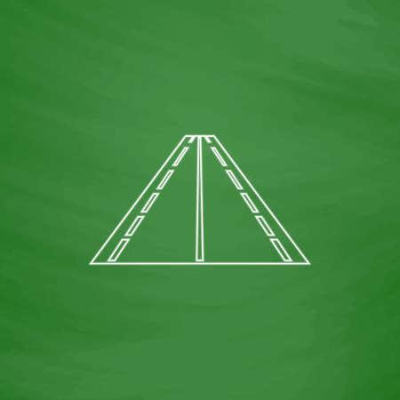 perspectiva lineal: Road Outline icono de vector. Imitación de dibujar con tiza blanca sobre la pizarra verde. Pictograma plano y el fondo de la Junta Escolar. Símbolo de la ilustración