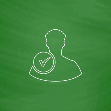 user icon: User Outline vector icon. Imitation draw with white chalk on green chalkboard. Flat Pictogram and School board background. Illustration symbol Illustration