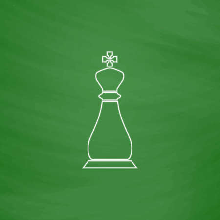 chessman: Chess king Outline vector icon. Imitation draw with white chalk on green chalkboard. Flat Pictogram and School board background. Illustration symbol