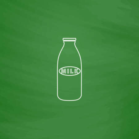 Milk bottle Outline vector icon. Imitation draw with white chalk on green chalkboard. Flat Pictogram and School board background. Illustration symbol