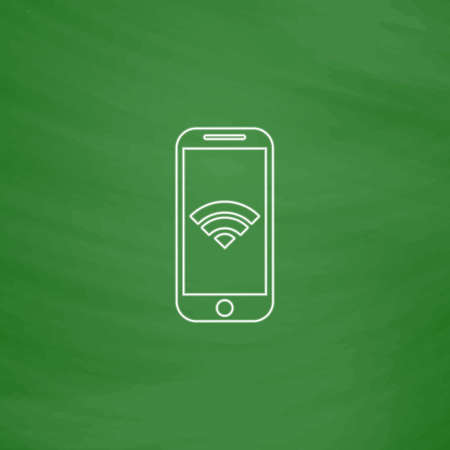 communicator: Wifi smartphone Outline vector icon. Imitation draw with white chalk on green chalkboard. Flat Pictogram and School board background. Illustration symbol