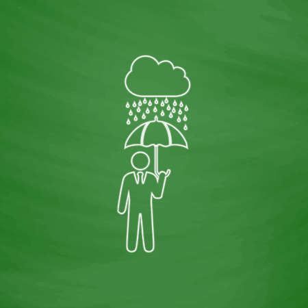 Rainy Outline vector icon. Imitation draw with white chalk on green chalkboard. Flat Pictogram and School board background. Illustration symbol Illustration