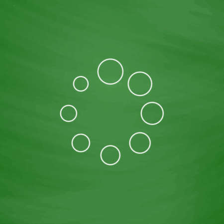 downloading content: buffering Outline vector icon. Imitation draw with white chalk on green chalkboard. Flat Pictogram and School board background. Illustration symbol