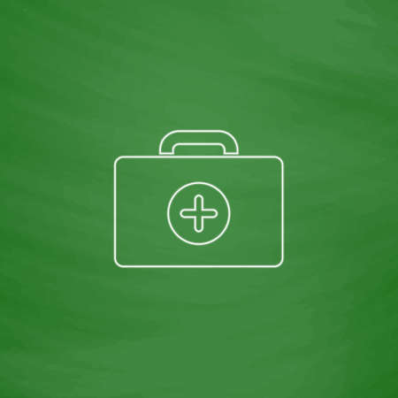 school kit: first aid kit Outline vector icon. Imitation draw with white chalk on green chalkboard. Flat Pictogram and School board background. Illustration symbol