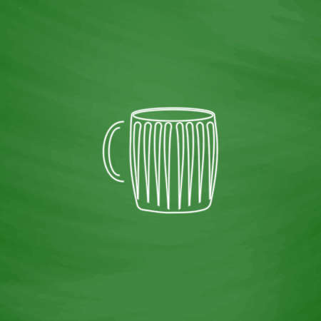 beer mug Outline vector icon. Imitation draw with white chalk on green chalkboard. Flat Pictogram and School board background. Illustration symbol Illustration