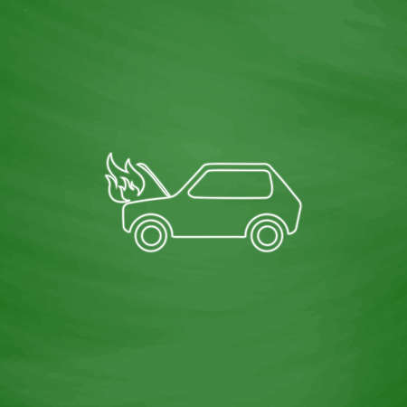 Car fire Outline vector icon. Imitation draw with white chalk on green chalkboard. Flat Pictogram and School board background. Illustration symbol