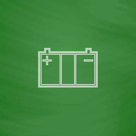 Car battery Outline vector icon. Imitation draw with white chalk on green chalkboard. Flat Pictogram and School board background. Illustration symbol Illustration