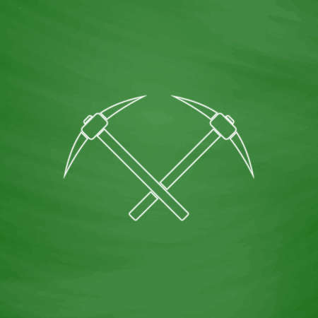 icebreaker Outline vector icon. Imitation draw with white chalk on green chalkboard. Flat Pictogram and School board background. Illustration symbol