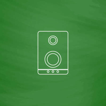 speaker Outline vector icon. Imitation draw with white chalk on green chalkboard. Flat Pictogram and School board background. Illustration symbol Illustration