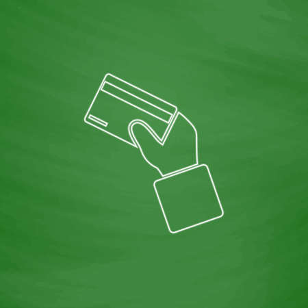 payment card Outline vector icon. Imitation draw with white chalk on green chalkboard. Flat Pictogram and School board background. Illustration symbol