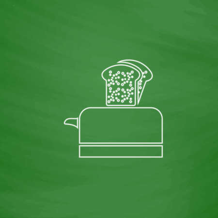 luncheon: Toaster Outline vector icon. Imitation draw with white chalk on green chalkboard. Flat Pictogram and School board background. Illustration symbol