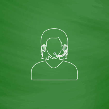 telephonist: telephonist Outline vector icon. Imitation draw with white chalk on green chalkboard. Flat Pictogram and School board background. Illustration symbol Illustration