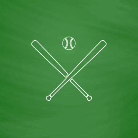 baseball Outline vector icon. Imitation draw with white chalk on green chalkboard. Flat Pictogram and School board background. Illustration symbol Illustration