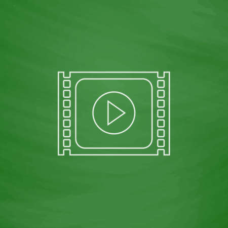 windows media video: player Outline vector icon. Imitation draw with white chalk on green chalkboard. Flat Pictogram and School board background. Illustration symbol