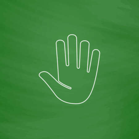 hand outline: Stop hand Outline vector icon. Imitation draw with white chalk on green chalkboard. Flat Pictogram and School board background. Illustration symbol