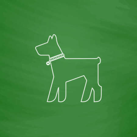 dog outline: Dog Outline vector icon. Imitation draw with white chalk on green chalkboard. Flat Pictogram and School board background. Illustration symbol