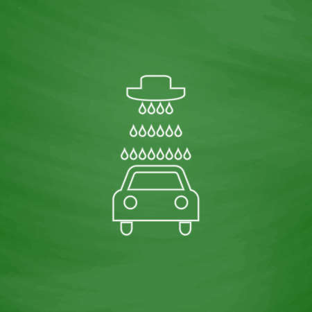 Car wash Outline vector icon. Imitation draw with white chalk on green chalkboard. Flat Pictogram and School board background. Illustration symbol