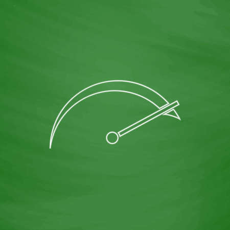 tachometer Outline vector icon. Imitation draw with white chalk on green chalkboard. Flat Pictogram and School board background. Illustration symbol