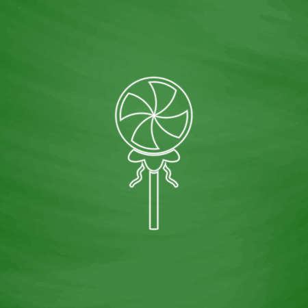 Candy Outline vector icon. Imitation draw with white chalk on green chalkboard. Flat Pictogram and School board background. Illustration symbol