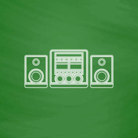 Audio vettore icona Descrizione del sistema. Imitazione disegnare con il gesso bianco su lavagna verde. Pittogramma di appartamenti e scuola board background. illustrazione simbolo