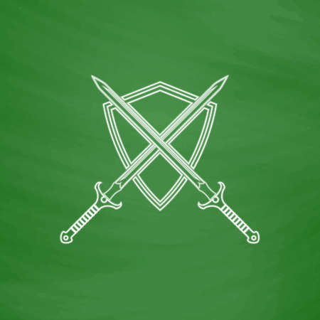 heraldry Outline vector icon. Imitation draw with white chalk on green chalkboard. Flat Pictogram and School board background. Illustration symbol Illustration
