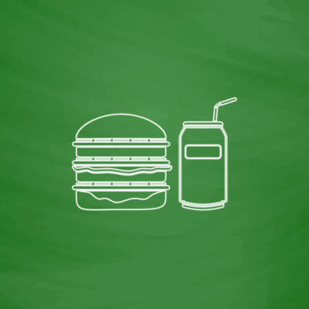 sandwich board: fast food Outline vector icon. Imitation draw with white chalk on green chalkboard. Flat Pictogram and School board background. Illustration symbol