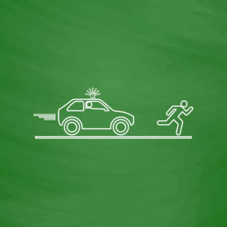 detainee: police Outline vector icon. Imitation draw with white chalk on green chalkboard. Flat Pictogram and School board background. Illustration symbol Illustration
