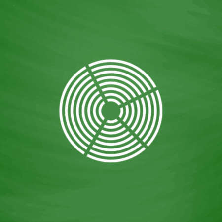 unexplained: Crop Circle. Flat Icon. Imitation draw with white chalk on green chalkboard. Flat Pictogram and School board background. Vector illustration symbol
