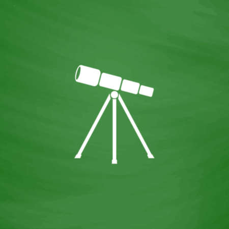 Telescope. Flat Icon. Imitation draw with white chalk on green chalkboard. Flat Pictogram and School board background. Vector illustration symbol