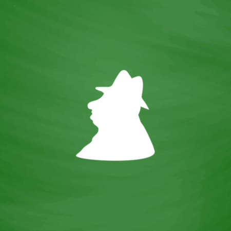 ranger: Man profile in hat. Flat Icon. Imitation draw with white chalk on green chalkboard. Flat Pictogram and School board background. Vector illustration symbol Illustration