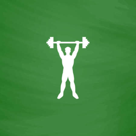 sexy muscular man: Strong man. Flat Icon. Imitation draw with white chalk on green chalkboard. Flat Pictogram and School board background. Vector illustration symbol