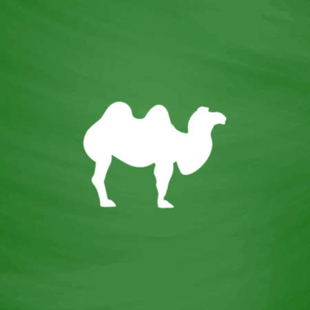 borden: Camel. Flat Icon. Imitation draw with white chalk on green chalkboard. Flat Pictogram and School board background. Vector illustration symbol