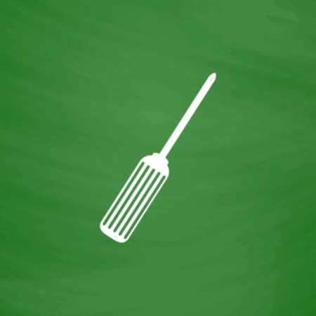 repairs: Screwdriver. Flat Icon. Imitation draw with white chalk on green chalkboard. Flat Pictogram and School board background. Vector illustration symbol