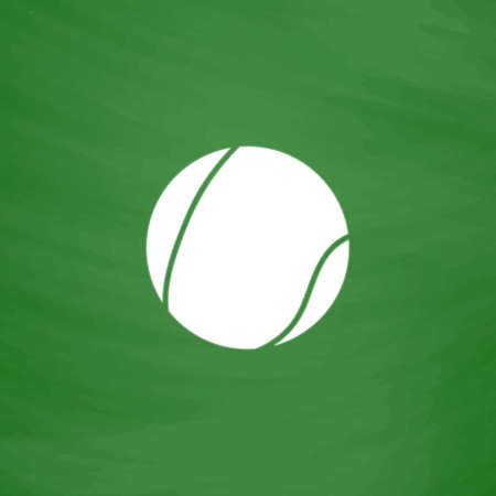 tennis serve: Tennis Ball. Flat Icon. Imitation draw with white chalk on green chalkboard. Flat Pictogram and School board background. Vector illustration symbol