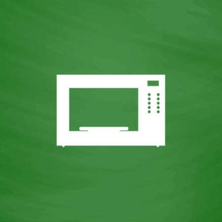 microondas: Horno microondas. Icono plana. Imitaci�n dibujar con tiza blanca en la pizarra verde. Pictograma plano y fondo de la tarjeta de la escuela. ilustraci�n vectorial s�mbolo