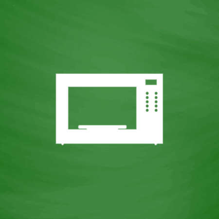 microwave oven: Microwave oven. Flat Icon. Imitation draw with white chalk on green chalkboard. Flat Pictogram and School board background. Vector illustration symbol Illustration