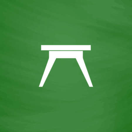 Small table. Flat Icon. Imitation draw with white chalk on green chalkboard. Flat Pictogram and School board background. Vector illustration symbol