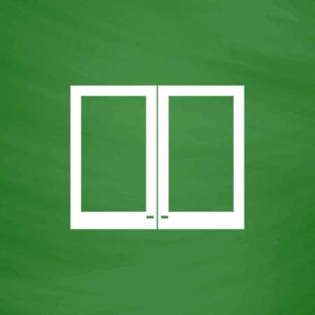 plastic window: Two plastic Window. Flat Icon. Imitation draw with white chalk on green chalkboard. Flat Pictogram and School board background. Vector illustration symbol