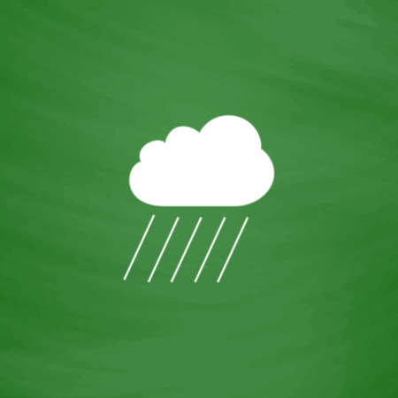 Cloud and rain. Flat Icon. Imitation draw with white chalk on green chalkboard. Flat Pictogram and School board background. Vector illustration symbol