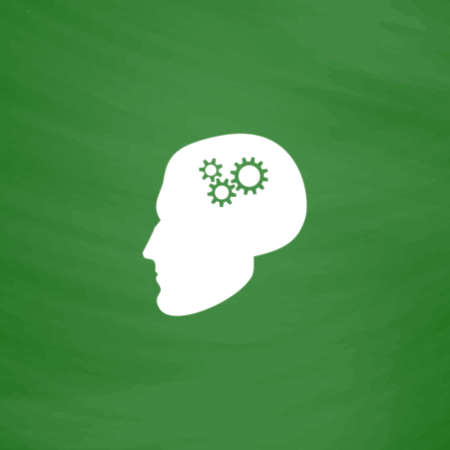 head gear: Human head gear hybrid knowledge. Flat Icon. Imitation draw with white chalk on green chalkboard. Flat Pictogram and School board background. Vector illustration symbol