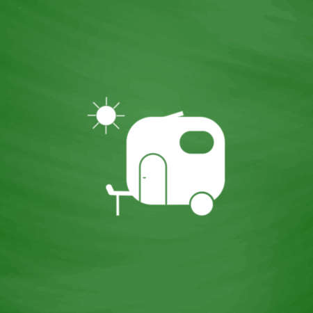 Travel trailer. Flat Icon. Imitation draw with white chalk on green chalkboard. Flat Pictogram and School board background. Vector illustration symbol