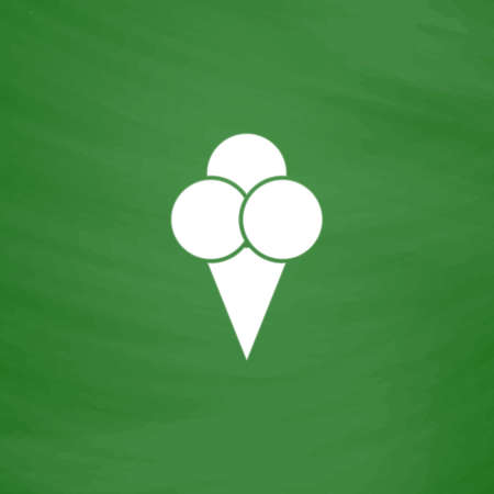 Ice cream. Flat Icon. Imitation draw with white chalk on green chalkboard. Flat Pictogram and School board background. Vector illustration symbol