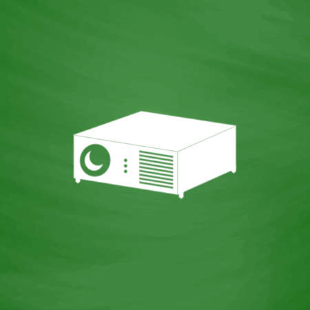 taught: Projector. Flat Icon. Imitation draw with white chalk on green chalkboard. Flat Pictogram and School board background. Vector illustration symbol Illustration