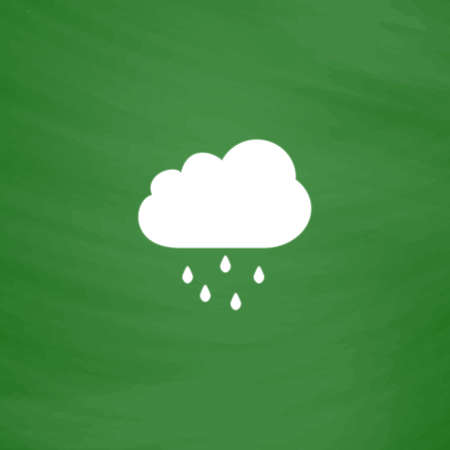 drench: Cloud with rain. Flat Icon. Imitation draw with white chalk on green chalkboard. Flat Pictogram and School board background. Vector illustration symbol