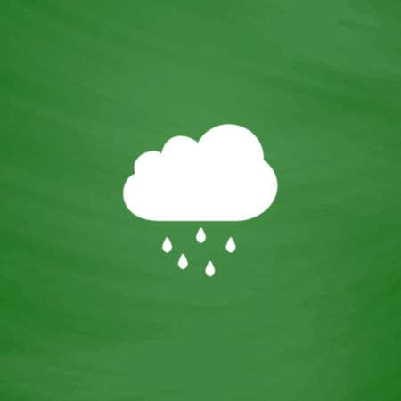 Nube con lluvia. Icono plana. Imitación dibujar con tiza blanca en la pizarra verde. Pictograma plano y fondo de la tarjeta de la escuela. ilustración vectorial símbolo