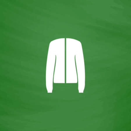 coatee: Jacket. Flat Icon. Imitation draw with white chalk on green chalkboard. Flat Pictogram and School board background. Vector illustration symbol