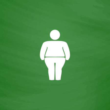 stocky: Overweight man symbol. Flat Icon. Imitation draw with white chalk on green chalkboard. Flat Pictogram and School board background. Vector illustration symbol Illustration
