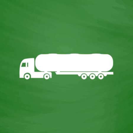 waggon: Tank car. Trailer Flat Icon. Imitation draw with white chalk on green chalkboard. Flat Pictogram and School board background. Vector illustration symbol